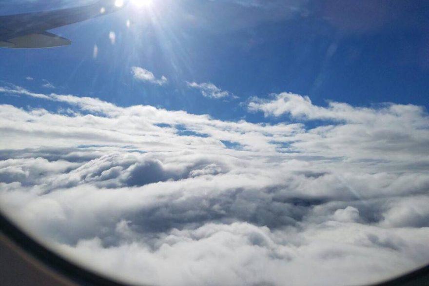 Volando en medio de nubes