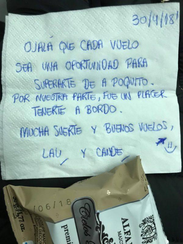 Esta es la carta que le dejaron las azafatas